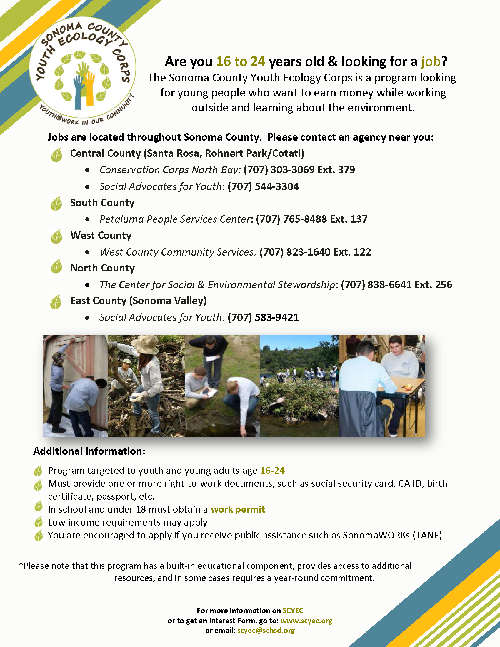How You Can Get Involved - Sonoma County Youth Ecology CorpsSonoma Job Corps Information Brochure on job corps resume, job corps letterhead, job recruitment brochures, job club brochure, marine corps brochure, job corps stickers, job corps banner, job advertisement brochure, job corps poster,